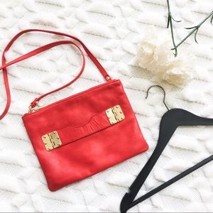 Hayden Harnett Red Leather Crossbody Clutch